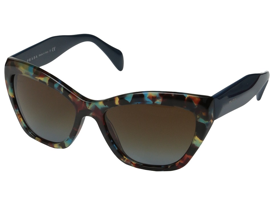 Prada - PR 02QS (Havana Spotted Blue/Blue Gradient) Plastic Frame Fashion Sunglasses