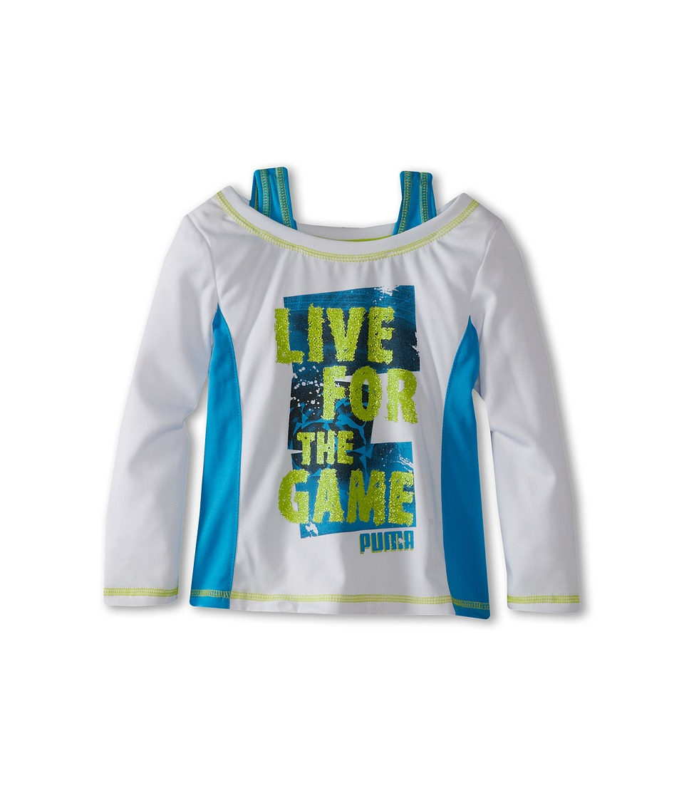 Puma Kids - Puma Live Two-Fer Tee (Little Kids) (White) Girl's Long Sleeve Pullover