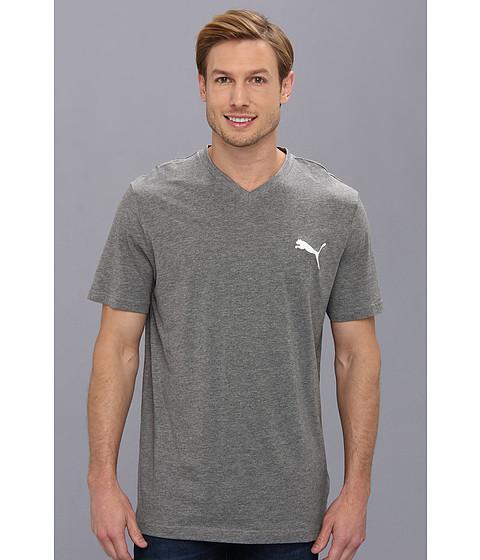 PUMA - Iconic V-Neck Tee (Medium Gray Heather) Men's Short Sleeve Pullover