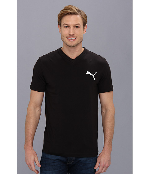 PUMA - Iconic V-Neck Tee (Black) Men's Short Sleeve Pullover