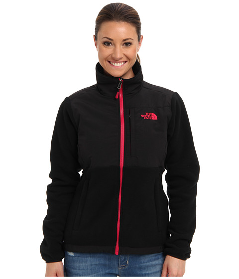 The North Face - Denali Jacket (Recycled TNF Black/Cerise Pink) Women's Coat