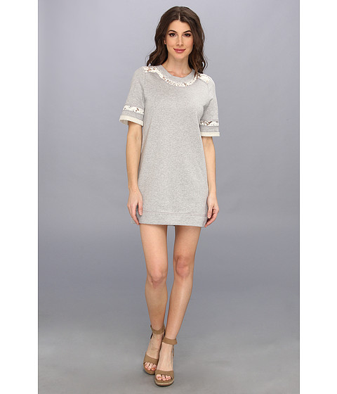 Rebecca Taylor - S/S Lace Sweatshirt Tunic (Melange Grey) Women's Dress