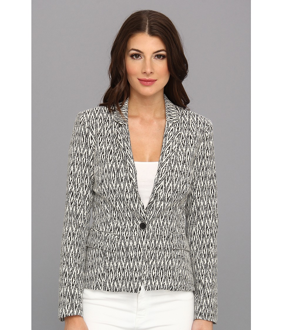 Graham and Spencer - JQJ3929 Mali Stretch Jacquard Blazer (Black/White) Women's Jacket