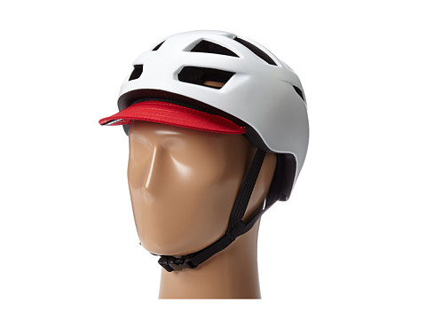 Bern - Allston Bike (Satin White w/Red Flip Visor) Cycling Helmet