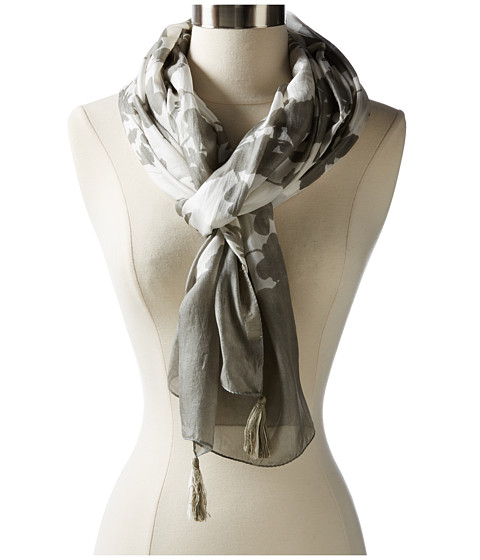 Michael Stars - Floral Patterns Silk Scarf (Oyster) Scarves