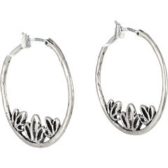 SALE! $14.99 - Save $14 on Lucky Brand Washed Denim Silver Lotus Hoop Earrings (Silver) Jewelry - 48.31% OFF $29.00