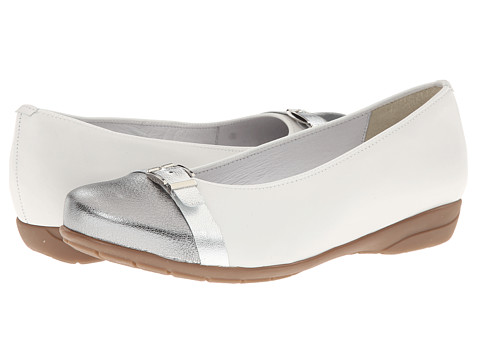 ara - Selena (White Calf/Gun Metal Toe Cap) Women's Dress Flat Shoes