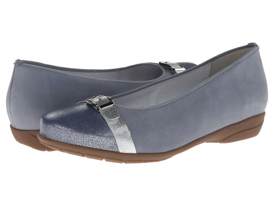 ara - Selena (Sky Blue Metallic/Blue Toe Cap) Women's Dress Flat Shoes