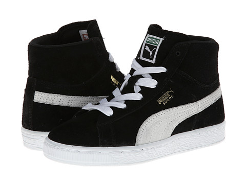 Puma Kids - Suede Classic Mid Jr (Little Kid/Big Kid) (Black/White/Team Gold) Boys Shoes