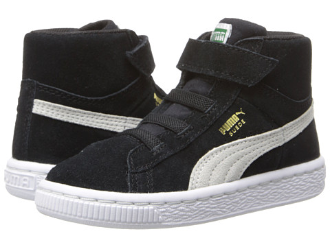 Puma Kids - Suede Classic Mid V (Toddler/Little Kid/Big Kid) (Black/White/Team Gold) Boys Shoes