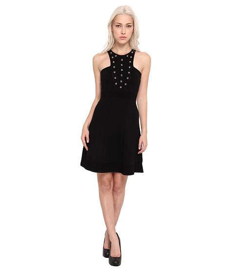 Versace Collection Studded High Neck Dress (Nero) Women's Dress