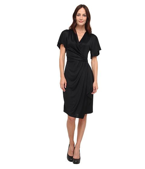 Versace Collection Short-Sleeve Draped Dress (Nero) Women's Dress