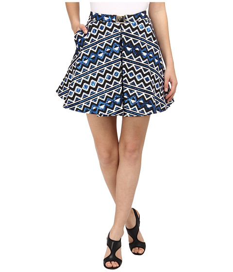 Versace Collection - Graphic Print Pleated Skirt (Bluette) Women's Skirt