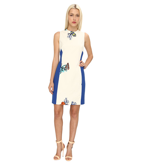 Versace Collection Print Colorblock Sheath Dress (Bianco/Stampa) Women's Dress