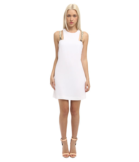 Versace Collection - Shift Dress with Snake Embossed Straps (Bianco Ottico) Women