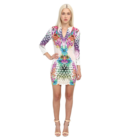 Just Cavalli - Long Sleeve Printed Dress (White) Women's Dress