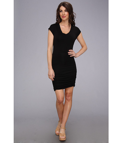 Splendid - Shirred Jersey Dress (Black) Women's Dress