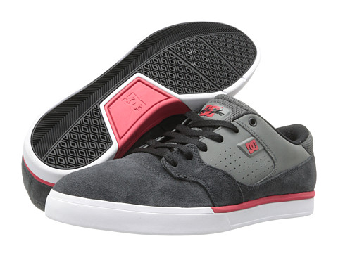 DC - Cole Lite (Grey/Grey/Red) Men's Skate Shoes