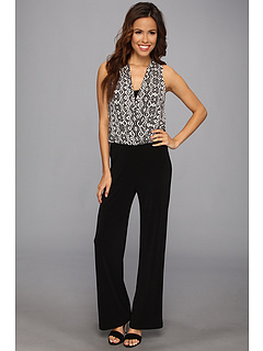 SALE! $69.99 - Save $68 on Karen Kane Ikat Contrast Palazzo Jumpsuit (Black) Apparel - 49.28% OFF $138.00