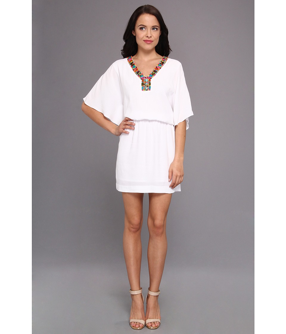 Nicole Miller Pebble Crepe Dress Womens Dress (White)
