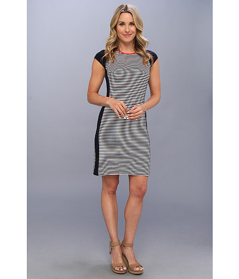 Karen Kane - Exposed Back Zipper Contrast Dress (Stripe) Women's Dress