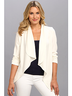 SALE! $64.99 - Save $63 on Karen Kane Rouched Sleeve Drape Neck Cardigan (Cream) Apparel - 49.23% OFF $128.00
