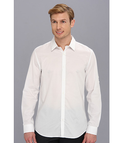 Calvin Klein - YD Grid Dobby Voile Roll-Up Sleeve Shirt (Pedal Grey) Men