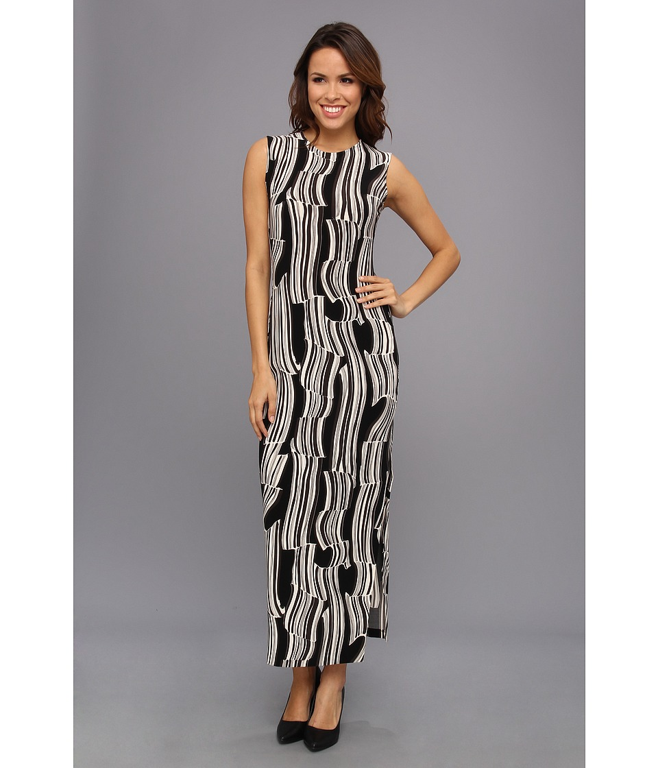 KAMALIKULTURE by Norma Kamali - Shift Maxi Gown w/ Slit (Black Candy Cane) Women's Dress