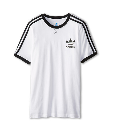 adidas Originals Kids - 3-Stripes Icon Tee (Little Kids/Big Kids) (White/Black) Girl's T Shirt