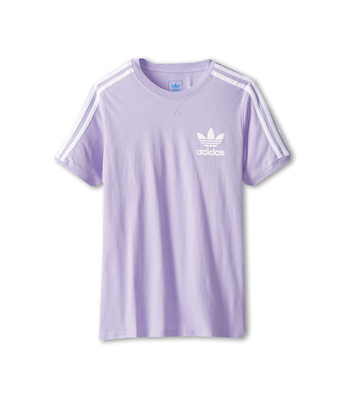adidas Originals Kids - 3-Stripes Icon Tee (Little Kids/Big Kids) (Glow Purple/White) Girl