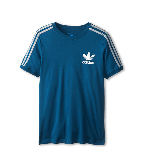 adidas Originals Kids - 3-Stripes Icon Tee (Little Kids/Big Kids) (Tribe Blue/Silver) Girl's T Shirt