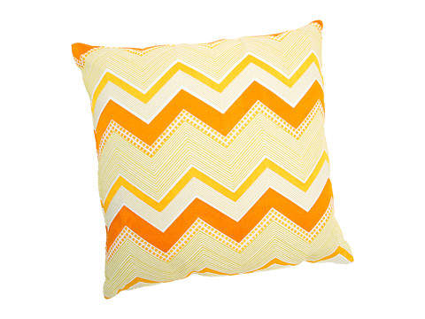 Trina Turk - Zebra Stripe Citrus Chevron Pillow (Orange/White) Sheets Bedding