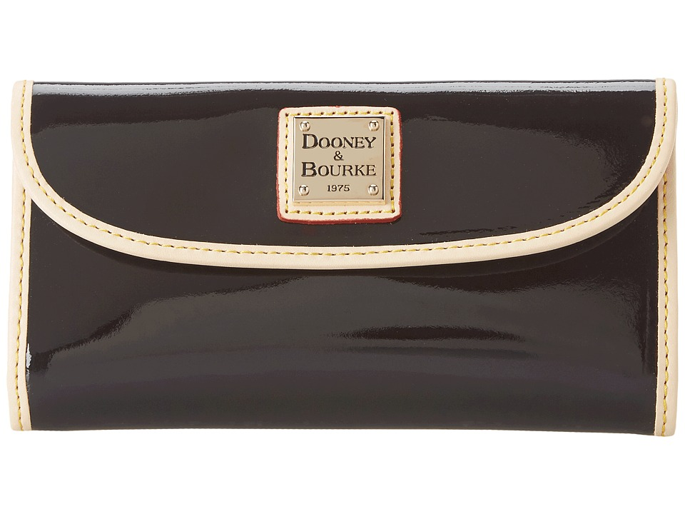 Dooney & Bourke - Patent Continental Clutch (Black w/ Nat Trim) Clutch Handbags
