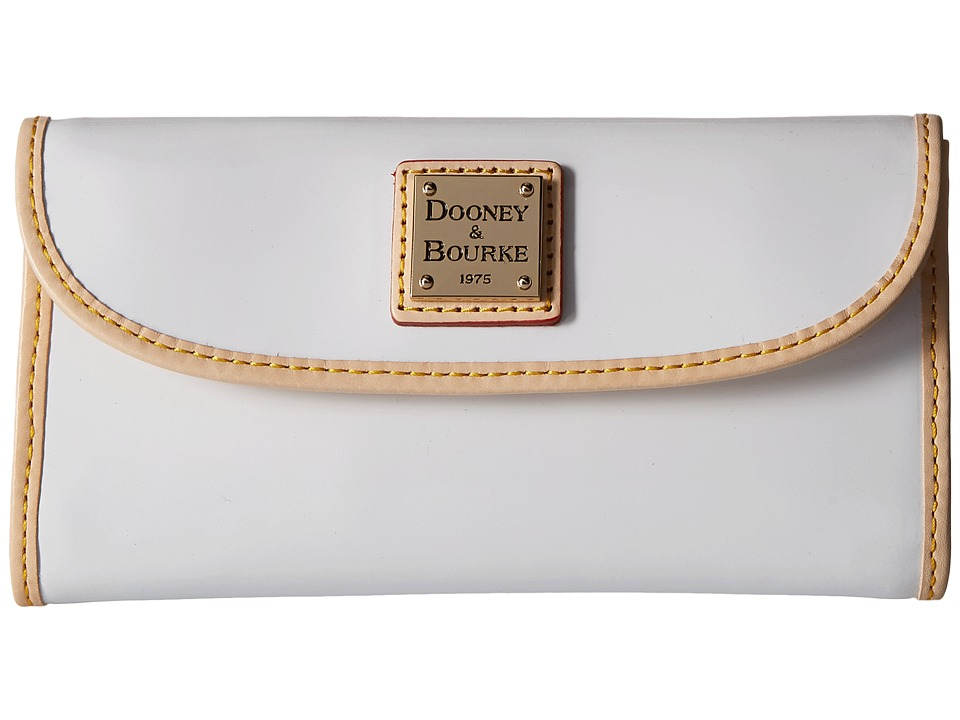 Dooney & Bourke - Patent Continental Clutch (White w/ Nat Trim) Clutch Handbags