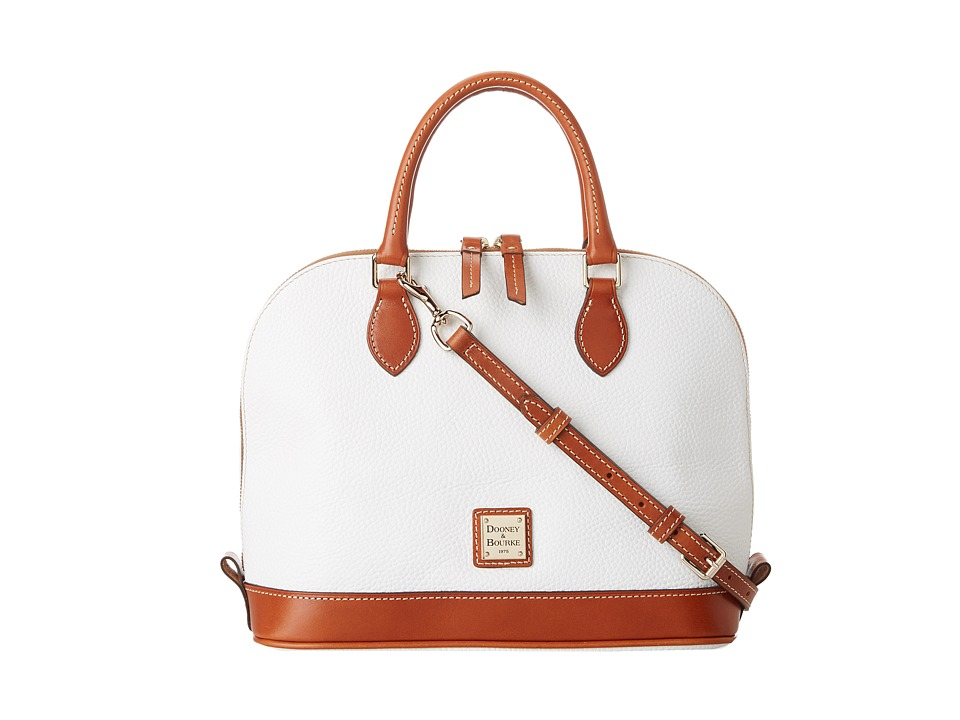 Dooney & Bourke - Pebble Zip Zip Satchel (White w/ Tan Trim) Satchel Handbags