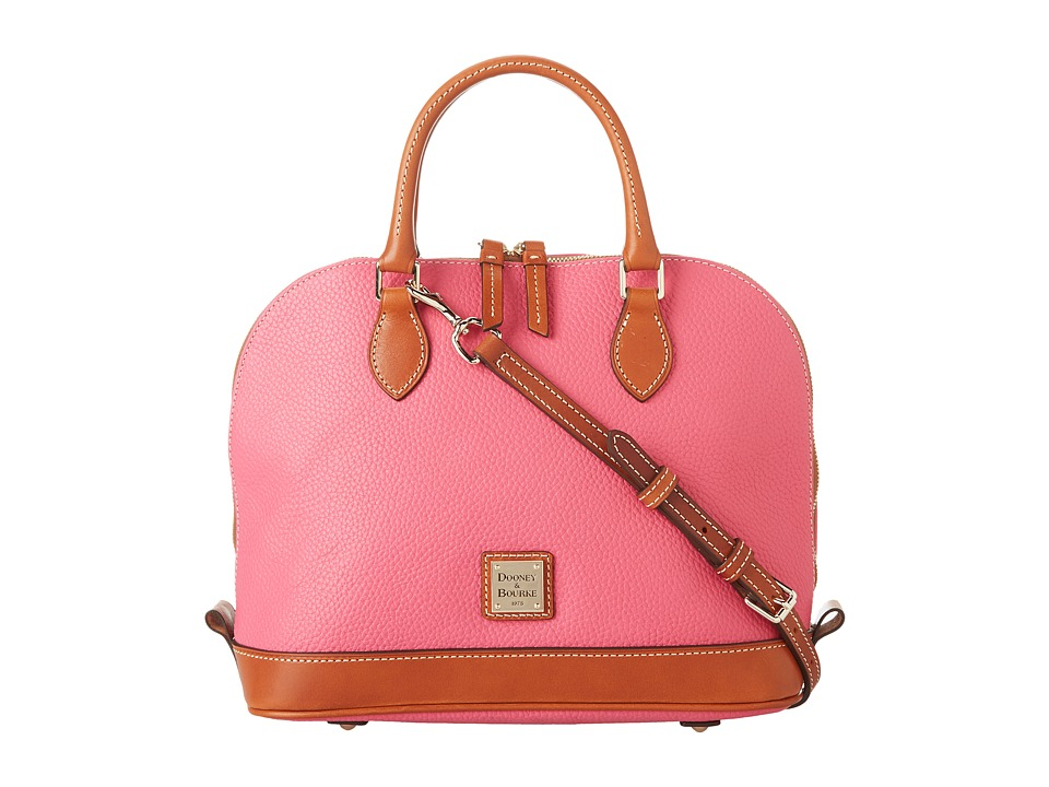 Dooney & Bourke - Pebble Zip Zip Satchel (Hot Pink w/ Tan Trim) Satchel Handbags
