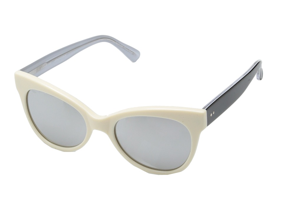 KAMALIKULTURE by Norma Kamali - Square Cat Eye Sunglasses (Opaque Milk/Silver Mirror) Plastic Frame Fashion Sunglasses