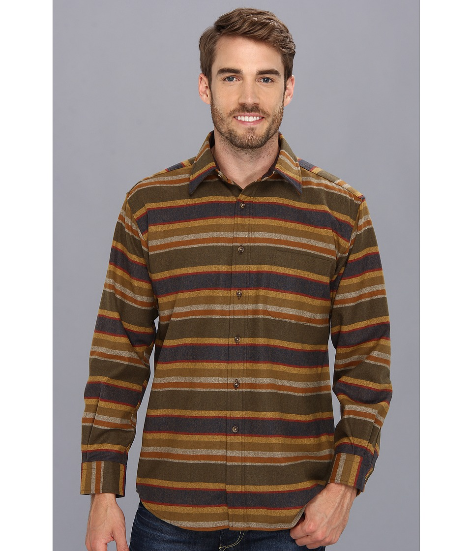 Pendleton - L/S Lodge Shirt (Olive Multi Park Stripe) Men's Long Sleeve Button Up