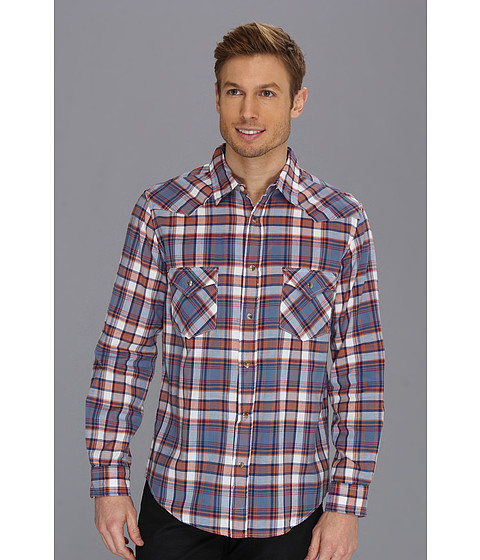 Pendleton - Fitted L/S Epic Shirt (Blue/Orange Plaid) Men's Long Sleeve Button Up
