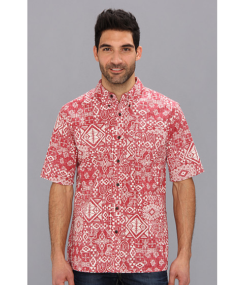 Pendleton - Limited Edition S/S Printed Button Down Fitted Camp Shirt (Red PWM Bandana Print) Men
