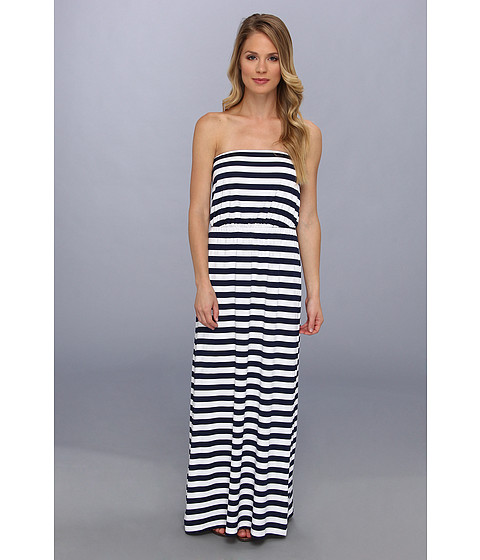 Susana Monaco - Striped Blouson Tube Maxi Dress (Inkwell/Sugar Stripe) Women