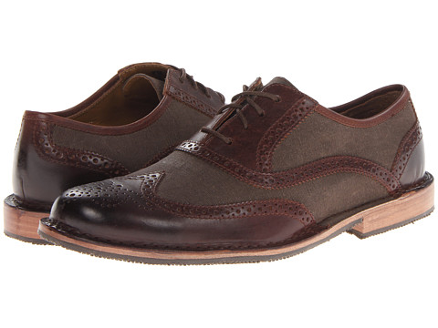Sebago - Brattle Wing Tip (Brown/Brown Canvas) Men's Lace Up Wing Tip Shoes