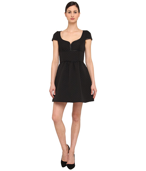 RED VALENTINO - Black Quilted Matlasse Dress with Leather Trim (Black) Women's Dress