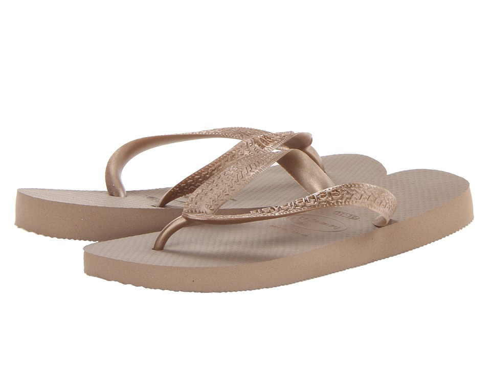 Havaianas - Top Metallic Flip Flops (Rose Gold) Women's Sandals