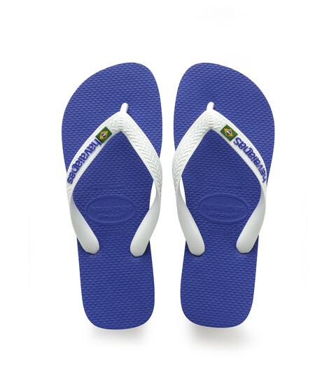 Havaianas - Brasil Logo Unisex Flip Flops (Marine Blue) Women's Sandals