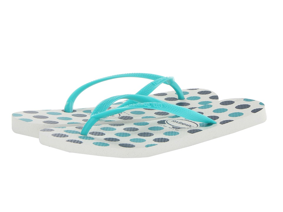 Havaianas - Slim Fresh Flip-Flops (White/Lake Green) Women's Sandals