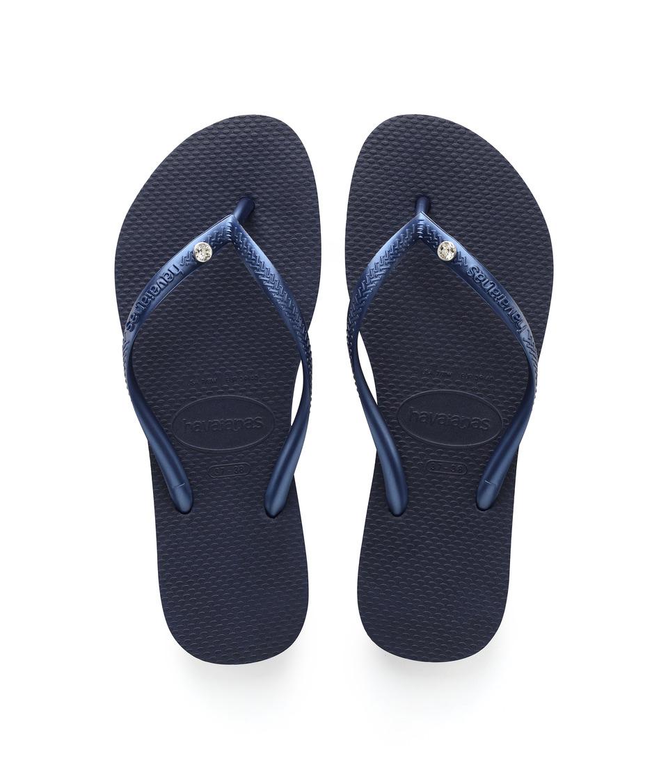 Havaianas - Slim Crystal Glamour SW Flip Flops (Navy Blue) Women's Sandals