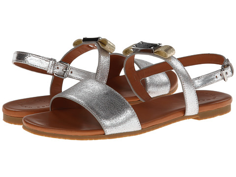 Marc by Marc Jacobs - Tuxedo Logo Plaque Flat Sandal (Silver/Gold) Women's Sandals