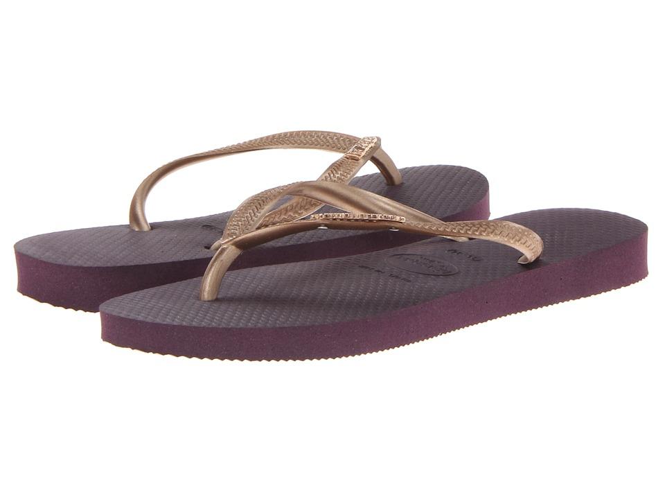 Havaianas - Slim Logo Metallic Flip Flops (Aubergine) Women's Sandals