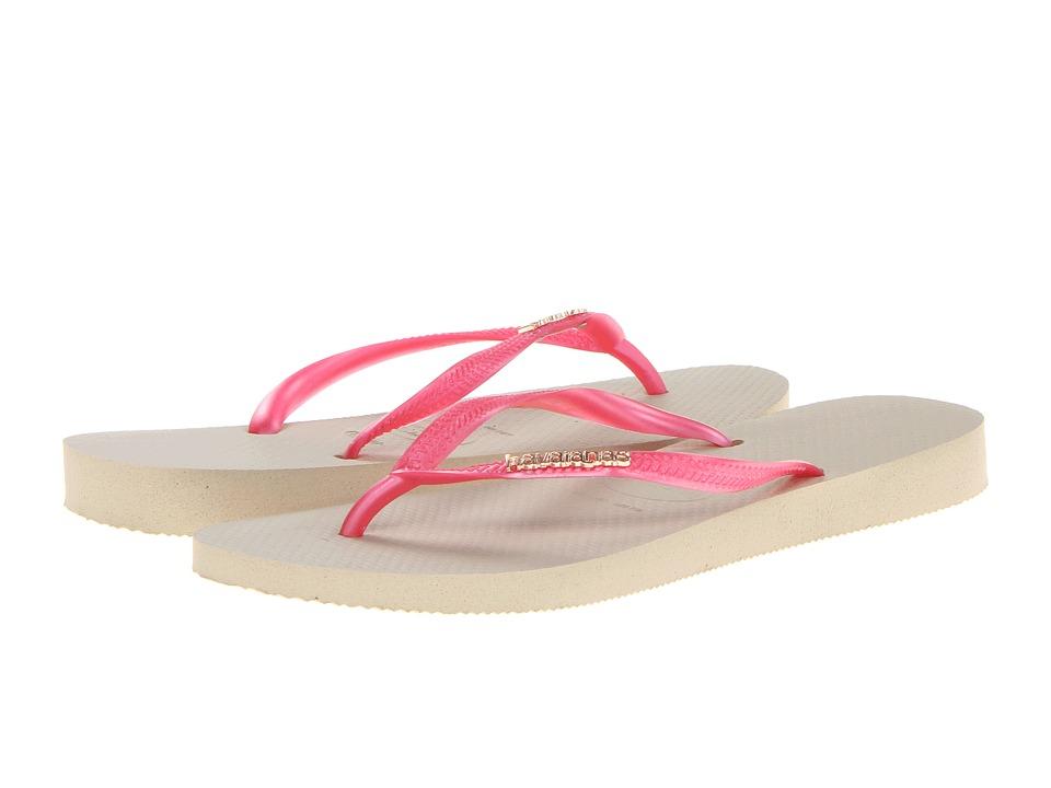 Havaianas - Slim Logo Metallic Flip Flops (Sand Grey/Fuchsia) Women